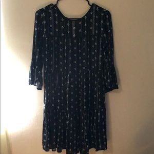 Loose Black Print Dress